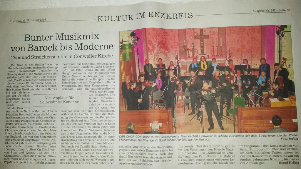 Pforzheimer Kurier 15.11.2016 mit freundlicher Genehmigung: Bernd Helbig